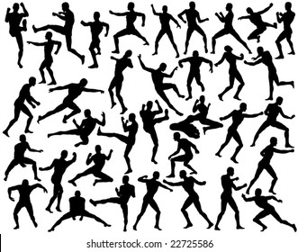 Set of editable vector silhouettes of fighting men