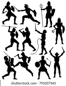 Set of editable vector silhouettes of fighting female gladiators with figures and weapons as separate objects