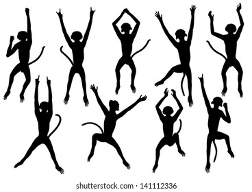 Set of editable vector silhouettes of jumping monkeys