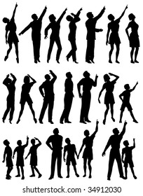 Set of editable vector silhouettes of people looking and pointing upwards