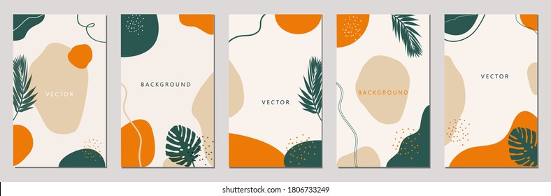 Set of editable vector story templates. Layouts with hand drawn organic shapes and leafs. Abstract backgrounds.Trendy design for social media marketing.Social media kit.