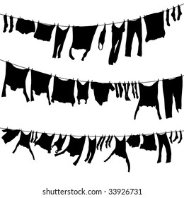 Set of editable vector washing lines with drying clothes; all individual clothes are separate objects