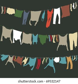 Set of editable vector washing lines with colorful drying clothes