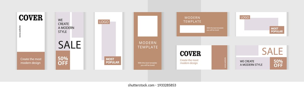 Set of editable vertical and horizontal photo collage banners. Minimalism instagram templates for social media posting and online advertising. Classic Gold color style. Trend vector illustration.