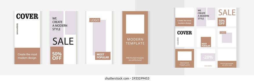 Set of editable vertical and square photo collage banners. Minimalist instagram templates for social media posting and online advertising. Classic Gold color style. Trend vector illustration.