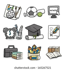 set of education / cartoon vector and illustration, hand drawn, sketch style, isolated on white background.