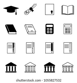 Set of education icons. Graduation cap, diploma, book, calculator, pen and pencil with notebook, university building. Vector Illustration