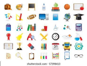 Set of education icons isolated on a white background
