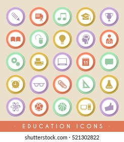 Set of Education Icons on Circular Colored Buttons. Vector Isolated Elements.