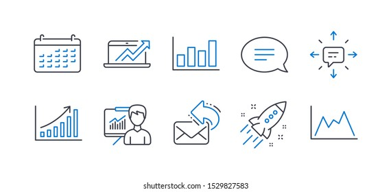 Set of Education icons, such as Presentation, Share mail, Sales diagram, Calendar, Sms, Startup rocket, Graph chart, Chat, Report diagram line icons. Education board, New e-mail. Vector