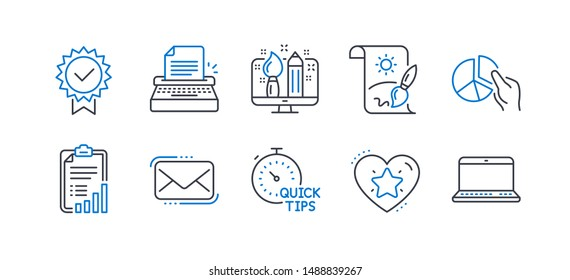 Set of Education icons, such as Ranking star, Pie chart, Creative painting, Quick tips, Typewriter, Checklist, Creative design, Certificate, Messenger mail, Notebook line icons. Vector
