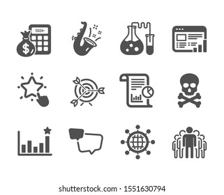 Set of Education icons, such as Target, Chemical hazard, Efficacy, Web report, Report, Speech bubble, International globe, Ranking star, Finance calculator, Chemistry lab, Group, Jazz. Vector