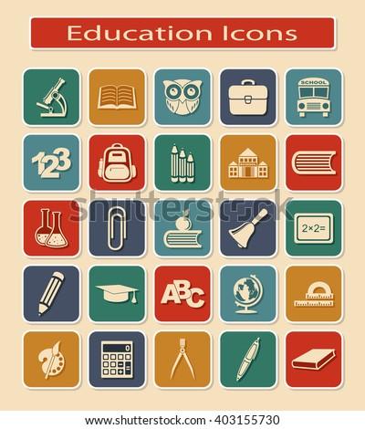 Set Education Icons Symbols Educational Objects Stock Vector