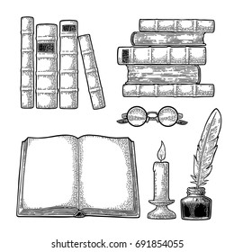 Set education. Inkwell with feather, pile of old books, glasses, candle. Isolated on white background. Vector black vintage engraving illustration. Hand draw in a graphic style.