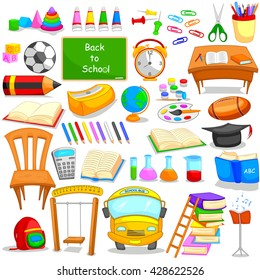Set of education and learning object icon in vector