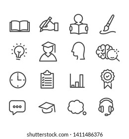 Set of education and study icons. Isolated on white background