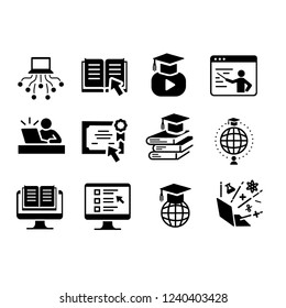 A set of educational icons