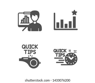 Set of Efficacy, Presentation board and Tutorials icons. Quick tips sign. Business chart, Growth chart, Quick tips. Helpful tricks.  Classic design efficacy icon. Flat design. Vector