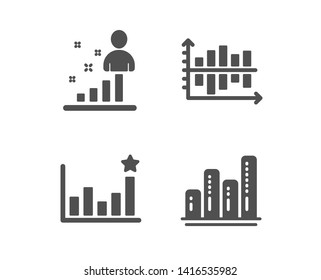 Set of Efficacy, Stats and Diagram chart icons. Graph chart sign. Business analysis, Presentation graph, Growth report.  Classic design efficacy icon. Flat design. Vector