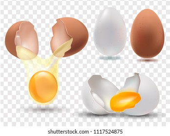 set of eggs on a transparent background whole and broken, realistic 3D illustration, yolk vector