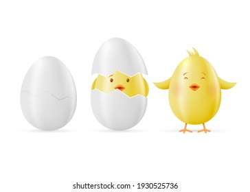 Set of eggs and yellow Easter clings isolated on a white background. Vector illustration.