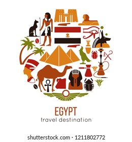 Set of Egypt symbols and landmarks. Flat vector illustrations.