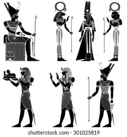 Set of egyptian ancient symbol, isolated figure of ancient egypt deities