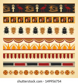 Set of egyptian seamless borders and symbols
