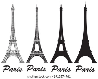 Set of Eiffel Tower vector icon with lines and the inscription Paris isolated on a white background. High quality badge