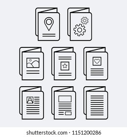 Set of eight (8) vector icons of various trifold brochures, each displaying different media.