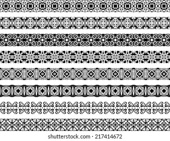 Set of eight black illustrated seamless borders