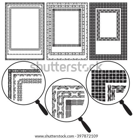 Set Eight Black White Ornamental Frame Stock Vector (Royalty Free ...