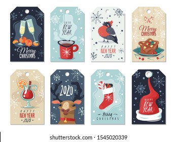 Set of eight Christmas cards banners in cartoon style with wishes, characters symbols of the new year. Collection of badges. Bullfinch, Santa's hat, mulled wine, champagne, tangerines, cupcake