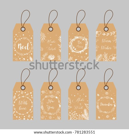 set of eight christmas and new year tags blank and as a gift for a