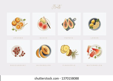 Set of eight colorful elegant fruit icons illustrated in flat lay style