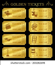 Set of eight golden vector cinema tickets and coupons templates. Vector file is organized in layers to separate Graphic elements from texture and text.