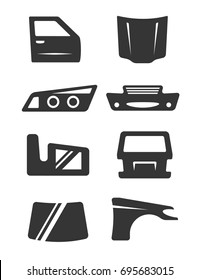 Set of eight grey icons for car body parts theme