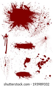Set of eight highly detailed bloodstain vectors