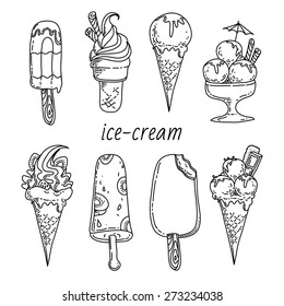 Black White Ice Cream Cartoon Images Stock Photos Vectors