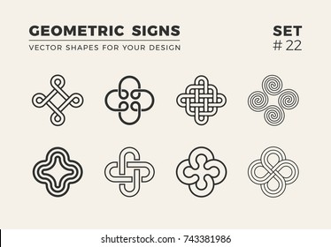 Set of eight minimalistic trendy shapes. Stylish vector logo emblems for Your design. Simple creative geometric signs collection.
