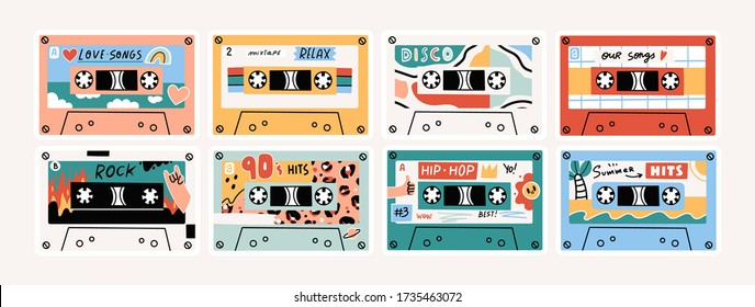 Set of eight Retro Vintage tape Cassettes. Various audio tapes. Different Mixtapes. Love songs, Relax, Rock, Nineties hits etc. Hand drawn colored Vector illustration. Every cassette is isolated