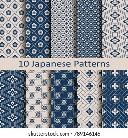 set with eight seamless vector blue japanese floral geometric paterns. design for textile, packaging, covers
