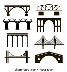 Set of eight stylized images of bridges. Black silhouettes of different styles on a white background. Arch, cable-stayed, hanging, rail and viaduct.