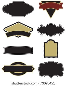 Set of eight vector design elements for emblems and labels. Easy to edit shapes and frames.