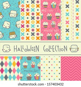 Set of eight vector halloween seamless patterns. Funny Halloween backgrounds.