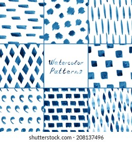 Set of eight watercolor simple patterns - strips, dots, lines, rhombus. Seamless patterns on the white background. Vector illustration.