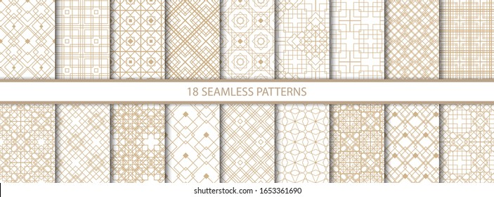 Set of eighteen gold decorative seamless patterns vector of different geometric forms. Abstract pattern for design cards, invitations, wallpaper, wrapping paper. Square, rhombus, triangle, line