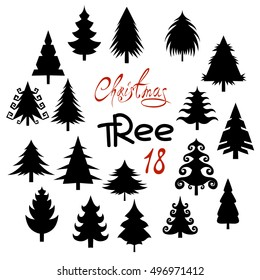 Set of eighteen silhouette Christmas tree isolated on white background.
