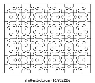 The set of eighty pieces of the puzzle. Puzzle with different types of details and the ability to move each part. Black and white vector illustration