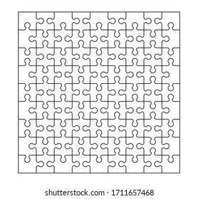 A set of eighty-one puzzle pieces. A puzzle with different types of parts and the ability to move each part. Black and white stock vector illustration.